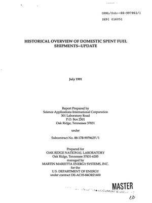 Primary view of object titled 'Historical overview of domestic spent fuel shipments: Update'.