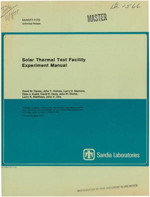 Primary view of object titled 'Solar Thermal Test Facility experiment manual'.