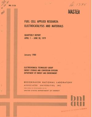 Primary view of object titled 'Fuel cell applied research: electrocatalysis and materials. Quarterly report, April 1-June 30, 1979'.