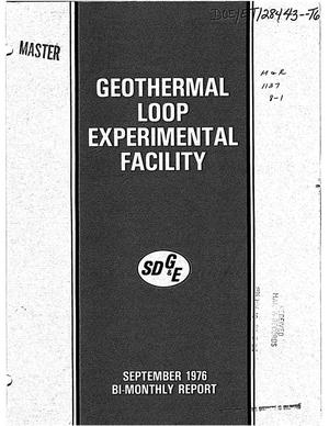 Primary view of object titled 'SDG and E - ERDA Geothermal Loop Experimental Facility. Bi-monthly report, May 1975-August 1976'.
