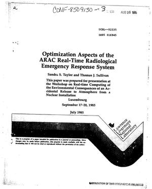 Primary view of object titled 'Optimization aspects of the ARAC real-time radiological emergency response system'.