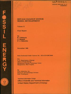 Primary view of object titled 'Hot-gas cleanup system model development. Volume II. Final report'.