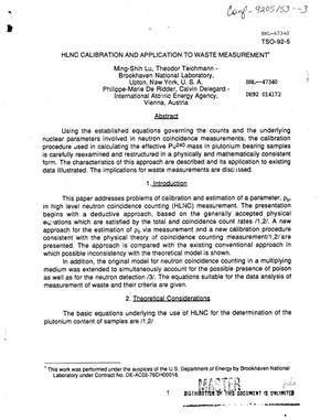 Primary view of object titled 'HLNC calibration and application to waste measurement'.