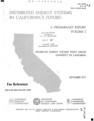 Primary view of object titled 'Distributed technologies in California's energy future. Volume I'.