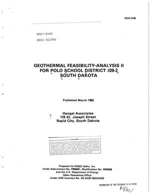 Primary view of object titled 'Geothermal feasibility-analysis II for Polo School District No. 29-2, South Dakota'.