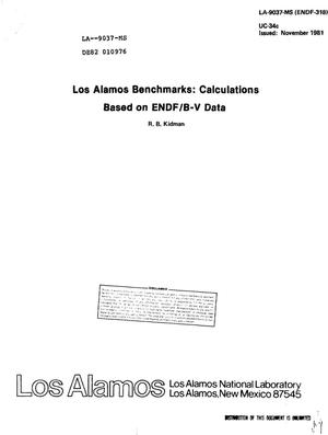Primary view of object titled 'Los Alamos benchmarks: calculations based on ENDF/B-V data'.