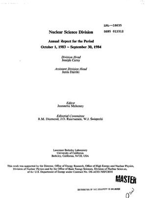 Primary view of object titled 'Nuclear Science Division annual report, October 1, 1983-September 30, 1984'.
