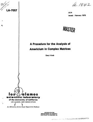 Primary view of object titled 'Procedure for the analysis of americium in complex matrices'.