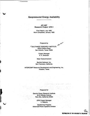 Primary view of object titled 'Geopressured energy availability. Final report'.