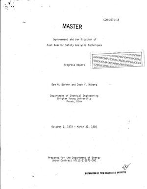 Primary view of object titled 'Improvement and verification of fast reactor safety analysis techniques. Progress report, October 1, 1979-March 31, 1980. [LMFBR]'.