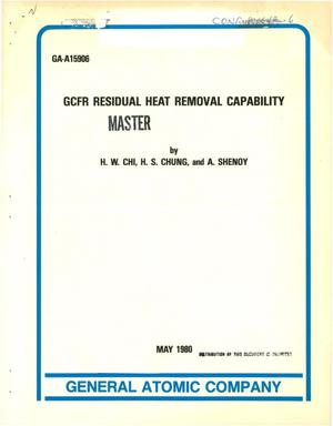 Primary view of object titled 'GCFR residual heat removal capability'.
