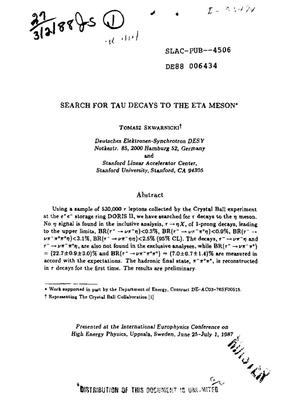 Primary view of object titled 'Search for tau decays to the eta meson'.