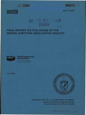 Primary view of object titled 'PCB usage at the Grand Junction Area Office Facility. Final report'.