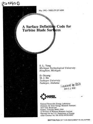 Primary view of object titled 'A surface definition code for turbine blade surfaces'.