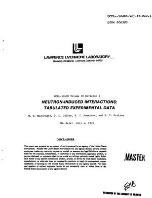Primary view of object titled 'Integrated system for production of neutronics and photonics calculational constants. Volume 10, Revision 1. Neutron-induced interactions: tabulated experimental data'.
