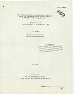 Primary view of object titled 'High pressure studies to determine the effects of volume and temperature on the lattice dynamics of molecular solids: N/sub 2/, CO/sub 2/, CH/sub 4/. Progress report for period July 1, 1979 - June 30, 1980'.