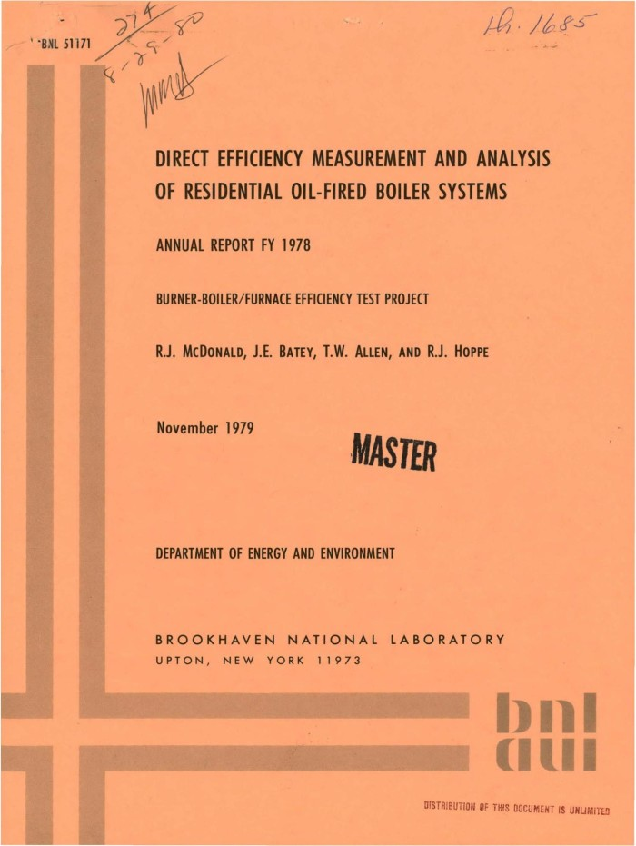 Direct efficiency measurement and analysis of residential oil-fired ...