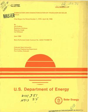 Primary view of object titled 'Fabrication and characterization of ITO/silicon SIS solar cells. Final report, October 1, 1978-April 30, 1980'.
