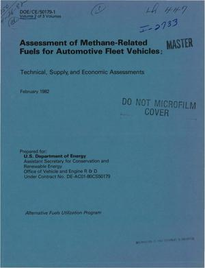 Primary view of object titled 'Assessment of methane-related fuels for automotive fleet vehicles: technical, supply, and economic assessments'.