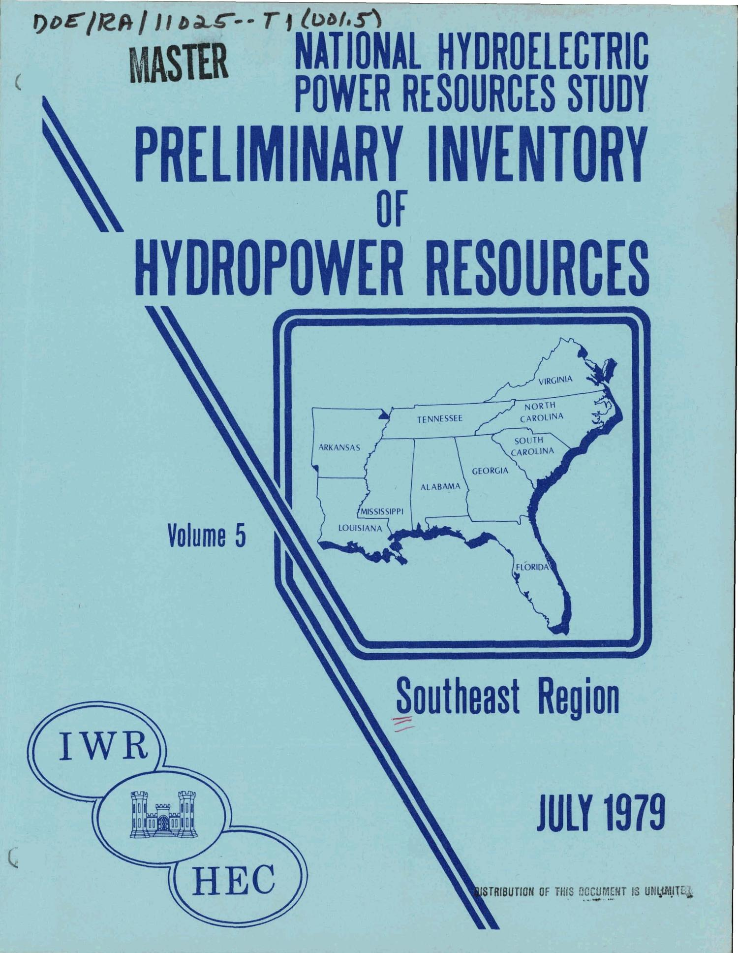 National Hydroelectric Power Resources Study Preliminary Inventory Diagram Of Hydropower Volume 5 Southeast Region Digital Library