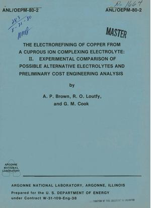 Primary view of object titled 'Electrorefining of copper from a cuprous ion complexing electrolyte. II. Experimental comparison of possible alternative electrolytes and preliminary cost engineering analysis'.