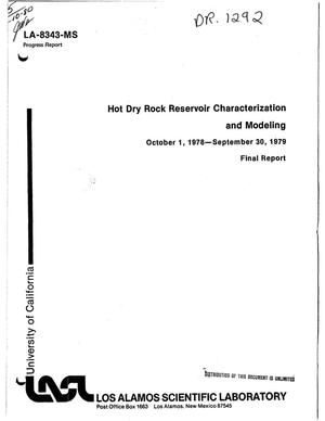 Primary view of object titled 'Hot dry rock reservoir characterization and modeling. Progress report, October 1, 1978-September 30, 1979. Final report'.