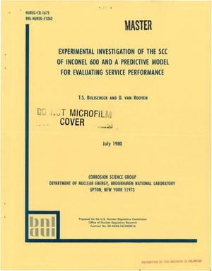 Primary view of object titled 'Experimental investigation of the SCC of Inconel 600 and a predictive model for evaluating service performance'.