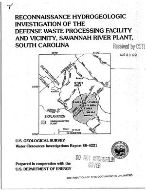 Primary view of object titled 'Reconnaissance hydrogeologic investigation of the Defense Waste Processing Facility and Vicinity, Savannah River Plant, South Carolina'.