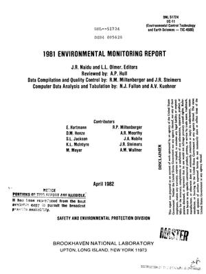Primary view of object titled '1981 environmental monitoring report'.