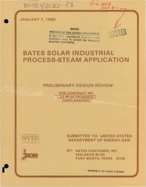 Primary view of object titled 'Bates solar industrial process-steam application: preliminary design review'.