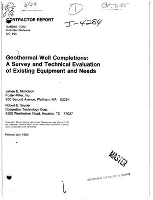 Primary view of object titled 'Geothermal-well completions: a survey and technical evaluation of existing equipment and needs'.