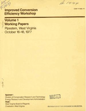 Primary view of object titled 'Improved conversion efficiency workshop. Volume I. Working papers'.