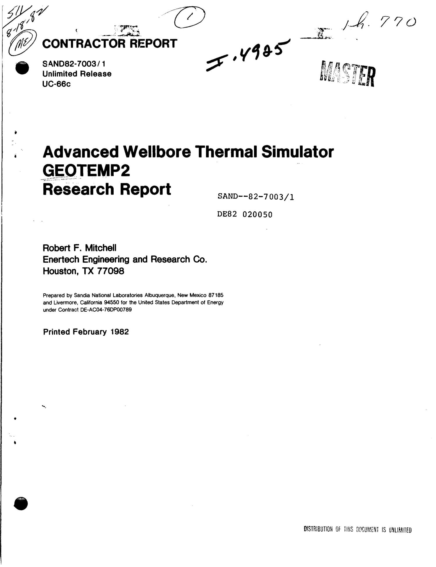 Advanced wellbore thermal simulator GEOTEMP2 research report                                                                                                      [Sequence #]: 1 of 92