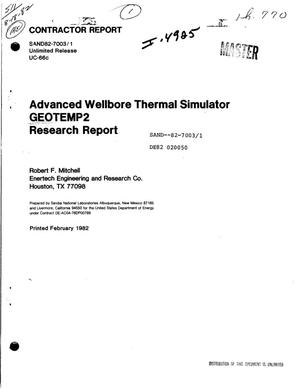 Primary view of object titled 'Advanced wellbore thermal simulator GEOTEMP2 research report'.