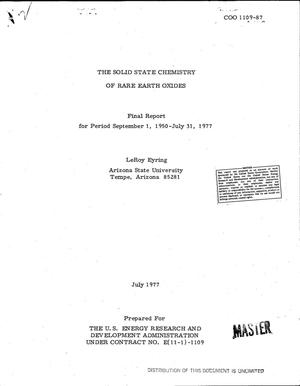 Primary view of object titled 'Solid state chemistry of rare earth oxides. Final report, September 1, 1950--July 31, 1977'.