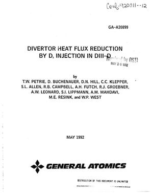 Primary view of object titled 'Divertor heat flux reduction by D sub 2 injection in DIII-D'.