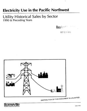 Primary view of object titled 'Electricity Use in the Pacific Northwest: Utility Historical Sales by Sector, 1990 and Preceding Years.'.