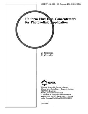 Primary view of object titled 'Uniform flux dish concentrators for photovoltaic application'.