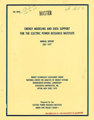 Primary view of object titled 'Energy modeling and data support for the Electric Power Research Institute. Annual report, July 1977'.