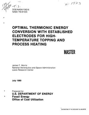 Primary view of object titled 'Optimal thermionic energy conversion with established electrodes for high-temperature topping and process heating'.