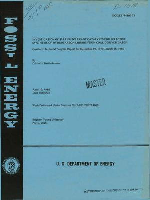 Primary view of object titled 'Investigation of sulfur-tolerant catalysts for selective synthesis of hydrocarbon liquids from coal-derived gases. Quarterly technical progress report, December 19, 1979-March 18, 1980'.