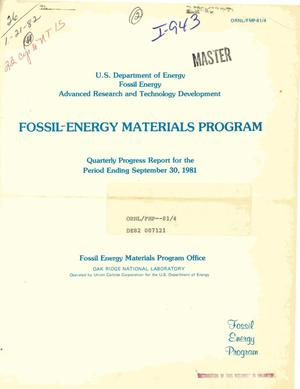 Primary view of object titled 'Advanced research and technology development fossil energy materials program. Quarterly progress report for the period ending September 30, 1981'.