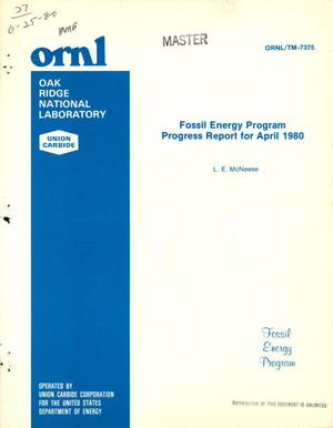 Primary view of object titled 'Fossil Energy Program. Progress report for April 1980'.