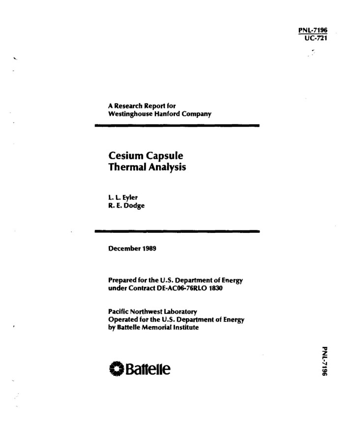 Cesium capsule thermal analysis - Digital Library
