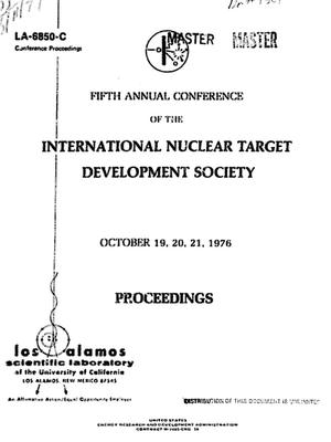 Primary view of object titled 'Fifth annual conference of the International Nuclear Target Development Society'.