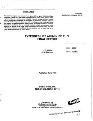 Primary view of object titled 'Extended life aluminide fuel. Final report'.