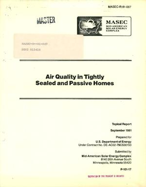 Primary view of object titled 'Air quality in tightly sealed and passive homes'.