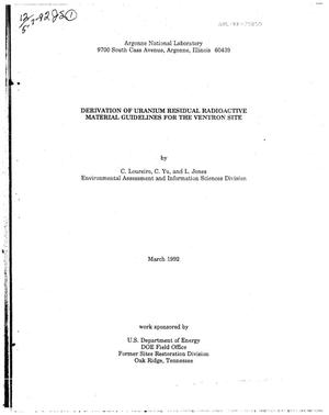 Primary view of object titled 'Derivation of uranium residual radioactive material guidelines for the Ventron site'.