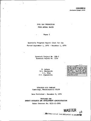Primary view of object titled 'Fuel gas production from animal waste: Phase I. Quarterly progress report (2nd), September 1, 1976--December 1, 1976. Dynatech report No. 1556'.