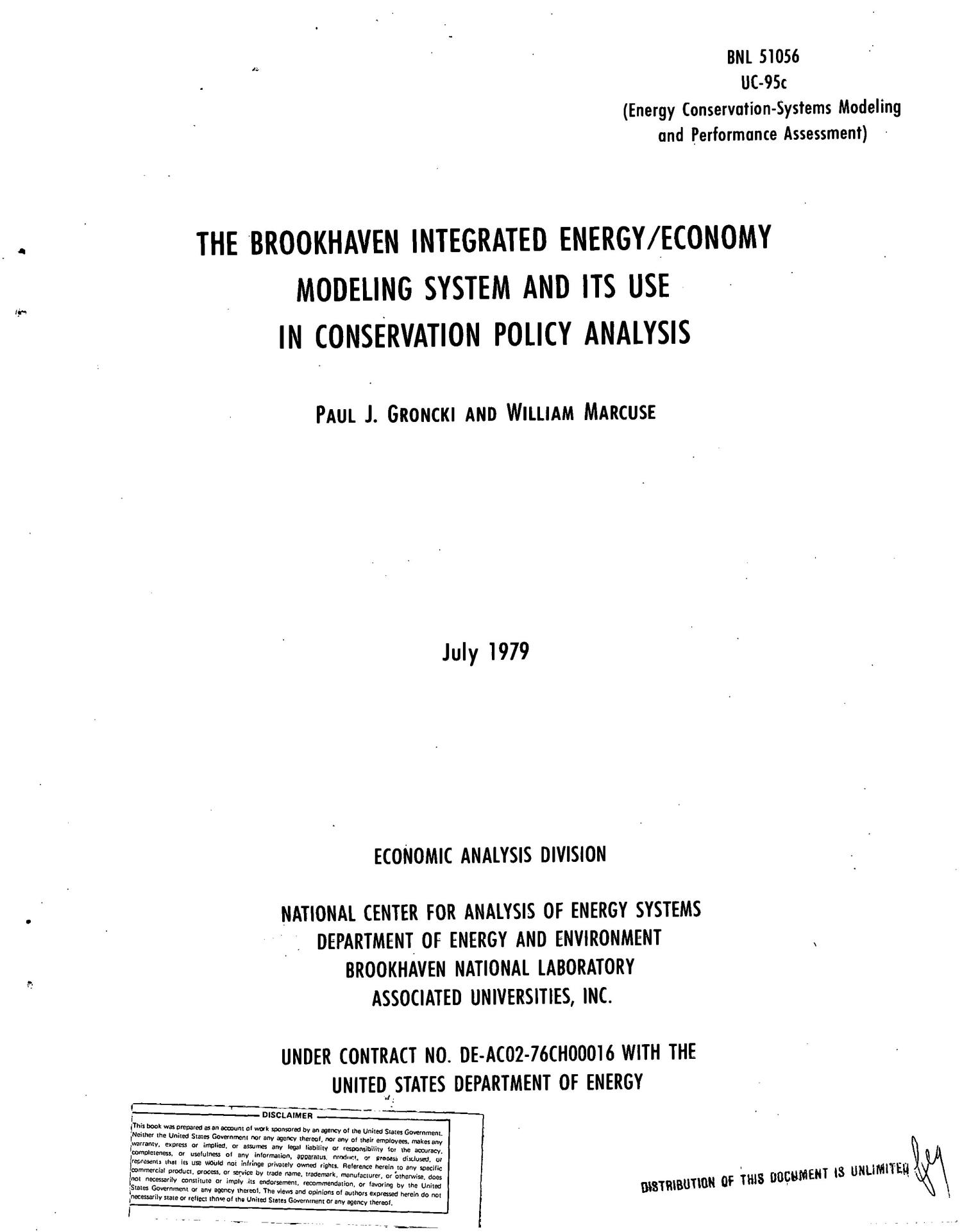 Brookhaven integrated energy/economy modeling system and its use in conservation policy analysis                                                                                                      [Sequence #]: 4 of 39